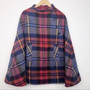 Boru Vintage Irish Dublin Plaid Wool Cape